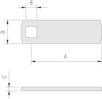 Riferimenti misure su tabella: Interasse=A; Larghezza=B; Spessore=C.